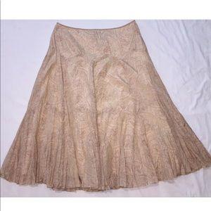 Ralph Lauren Silk Cotton Long Skirt  Crinkle Sz 12